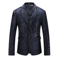 Men Sequin Blazer 2018 Stilingas Mens Paisley kostiumas Slim Fit mėlyna Mens Velvet Blazers Sceniniai kostiumai dainininkams