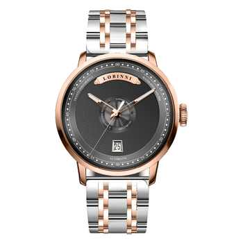 LOBINNI Mens Business 50M Waterproof Steel / Leather Strap Fashion Dial Automatic Self-wind Mechanical Wrist Watch - Rosegold - DISCOUNT ITEM  6% OFF All Category