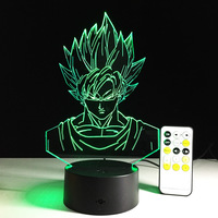 LED 3D Lamp Dragon Ball Goku LED Lamp USB Night Light Touch Remote Control 7 Colors Change Room Decor Kids Gift Drop Shipping