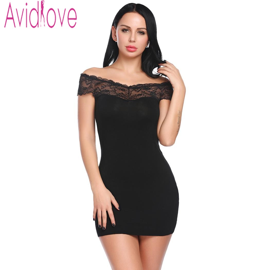 Avidlove 2018 New Nightgown Sleep Wear Dress Women Sexy Slash Neck Sleepwear Nightwear Lace Patchwork Nightdress Nightie Chemise