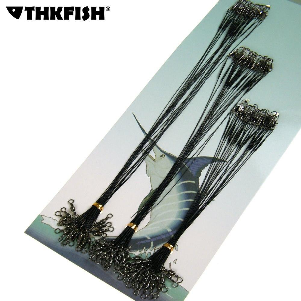 thkfish-60-pcs-linha-de-pesca-lider-fio-de-aco-com-giro-o-snap-interlock-pesca-leadcore-coleira-acessorio-preto