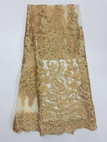 DPN3101 Gold Thread African Tulle Lace Fabric For Party Dress 2016 New Arrival African Net Mesh