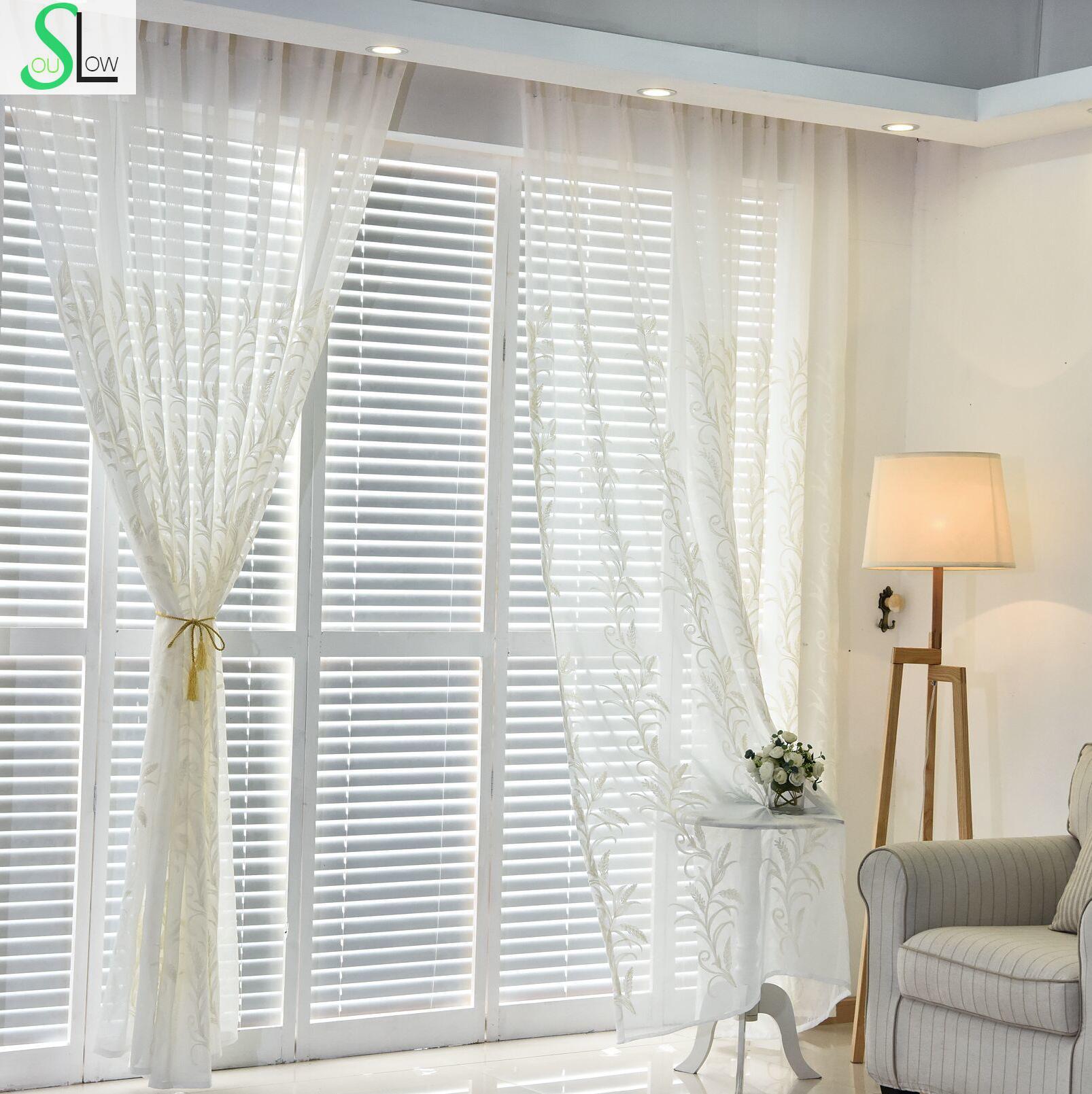 Slow Soul White Blue Light Brown Modern Cotton Curtain Living Room ...