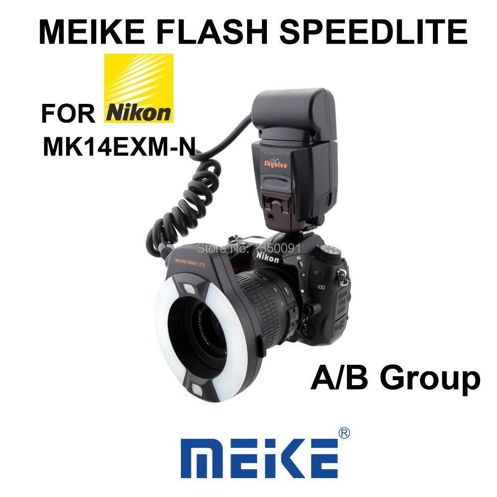Meike MK-14EXM Macro ring flash for Nikon with LED AF Assist Lamp neewer close up nw 14exm universal led macro ring flash light af assist lamp for canon nikon sony panasonic olympus fujifilm