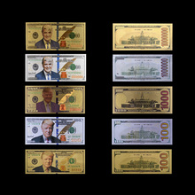 цена на American 24k Colorful Gold Banknote Rare US Fake Money 100 Dollar Currency Bill Note Festival Souvenir Gifts Value Collection