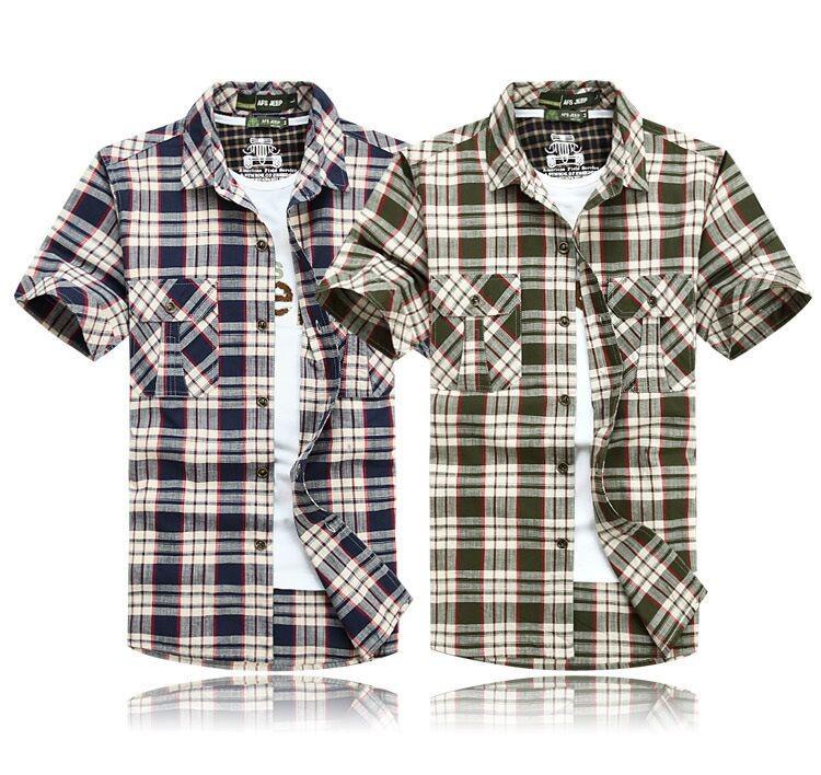 3XL 4XL 5XL 2015 Summer Plaid Men Cotton Short Sleeve Dress Shirts Camisa Hombre Patchwork Blouse Vestido Men Clothes Casual (3)