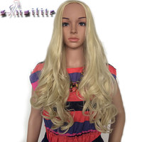 S-noilite 63.5 cm Dài Xoăn Phụ Nữ Nửa Tóc Giả Tổng Hợp Hair Vogue Ladies 3/4 Full Wigs Mềm cho con người