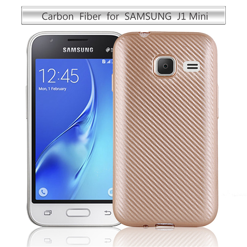 Carbon Fiber Case for Samsung Galaxy J1 Mini Silicone Rubber soft TPU Back Cover for Samsung J1 Nxt Duos J105H
