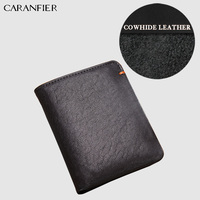 CARANFIER Mens Wallet Casual Bifold Soft Genuine Cowhide Leather Standard Large Capacity Card Photo Holder Dollar Coin Purse