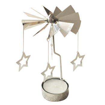 Five-pointed star girlfriend Gift Spinning Rotary Metal Carousel Tea Light Candle Holder Stand Light Xmas