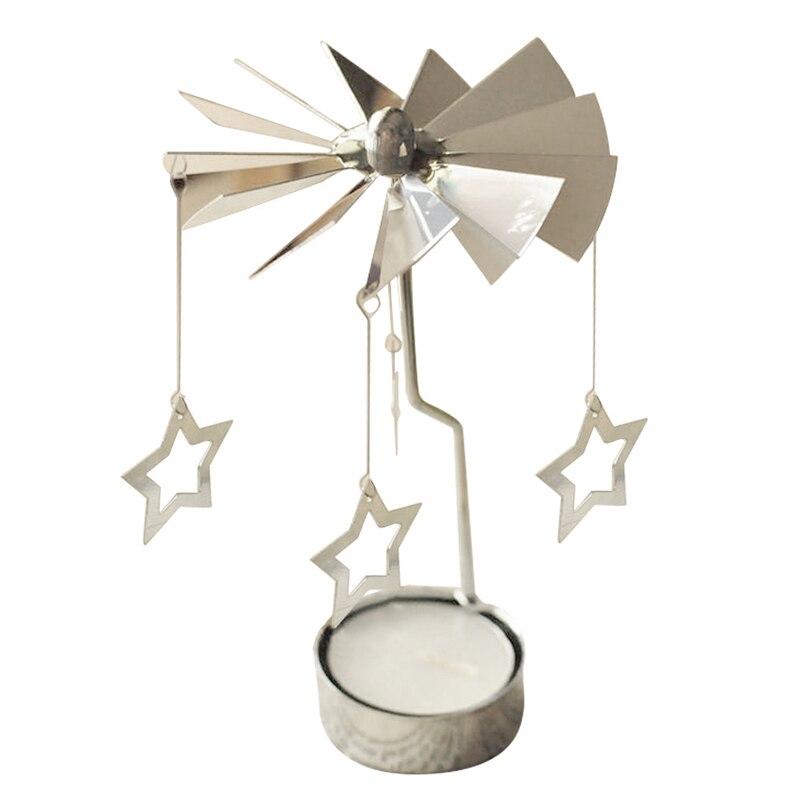 Пятиконечная звезда подруге подарок спиннинг поворотный металлический карусель Чай свет подсвечник подставка свет Рождество
