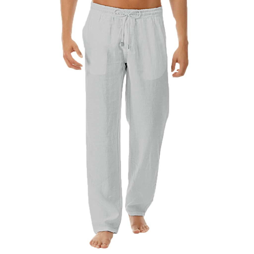 Leisure Male Mid Pants Men's Summer Style Simple And Fashionable Pure Cotton And Linen Trousers Straight Full Length Pants 30H