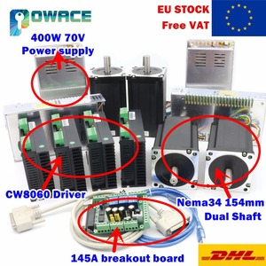 [Доставка ЕС] 4 оси Nema34 154 мм CNC шаговый двигатель (двойной вал) 5.0A /1600oz-in и драйвер 6A 80VDC 256 микрошаг и источник питания