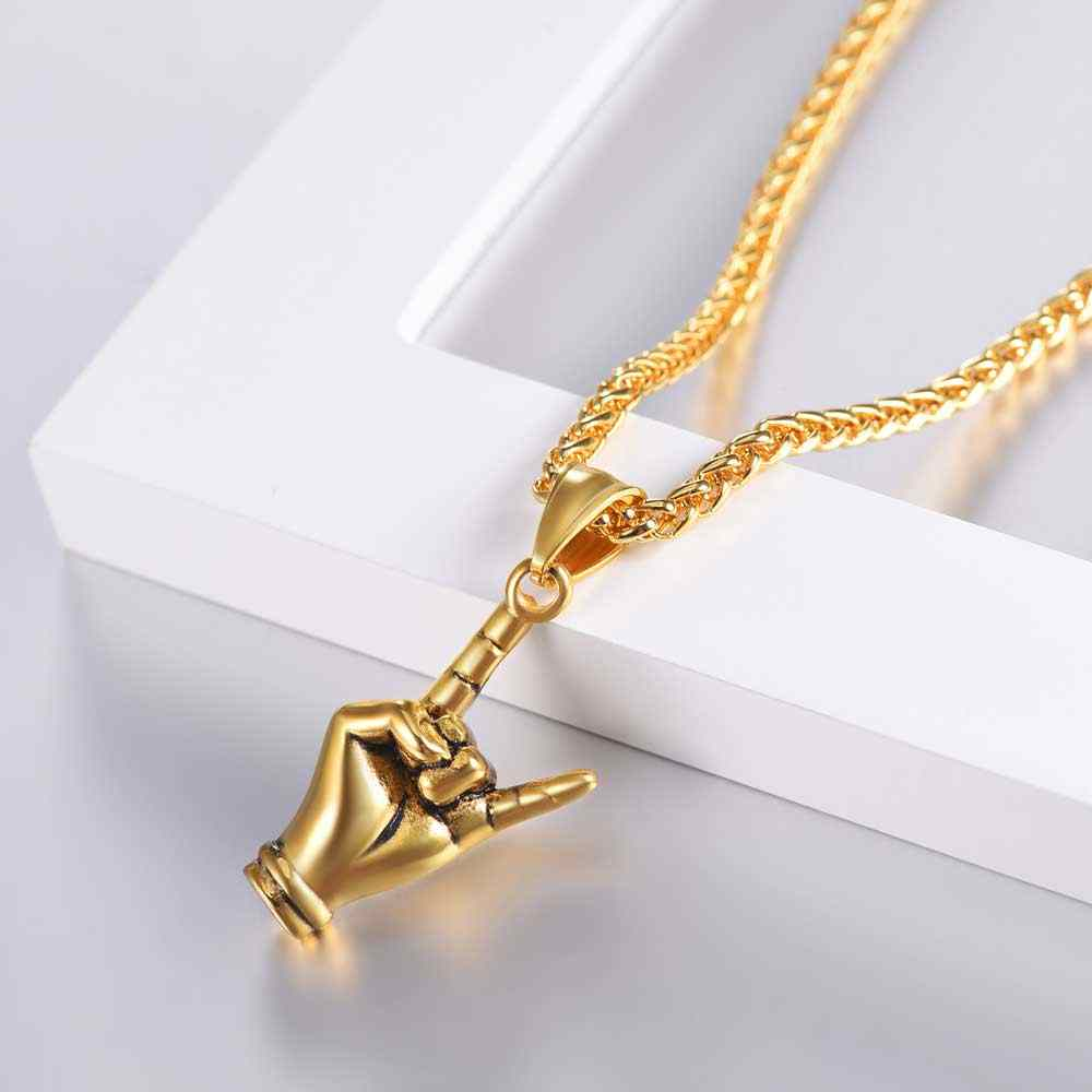 Kpop Devil Horn Necklace Rock Punk Music Unisex Jewelry Stainless Steel Gold Color Hand Necklace for Men Women P3235