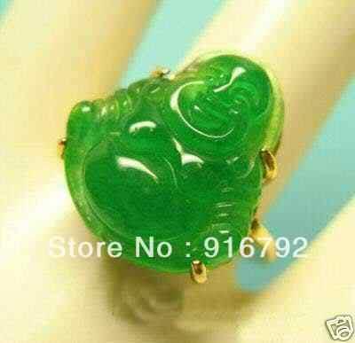 จัดส่งฟรีพีแอนด์พี*******สวยประเสริฐแท้สีเขียวหินแหวนพระพุทธรูป