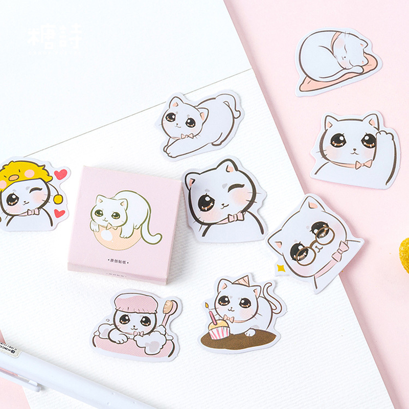 Capable H02 45pcs /pack Kawaii Big Eye Cat Boxed Stickers Diy Decorative Sealing Paste Stick Label School Office Supply Moderate Price