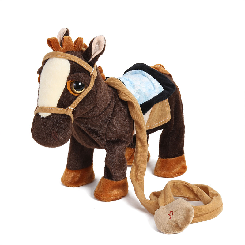 Robot Horse Interactive Electronic Horse Toy Leash Remot Control Plush Animal Pet Walk Whinny Songs Music Toys For Children