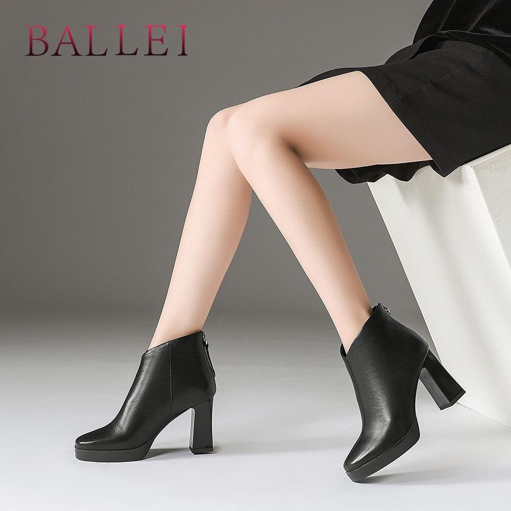 Bout Solide Qualité De Lady Élégant Femme Cuir Ballei Carré Chaussures Haute Black white En Véritable Rétro Luxe Talon Sexy B173 Bottine Boot qUzSMpV