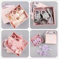 Boutique 1 Set Fashion Cute Glitter Crown Bow Floral Newborn Soft Hairbands Set Cute Pom Pom
