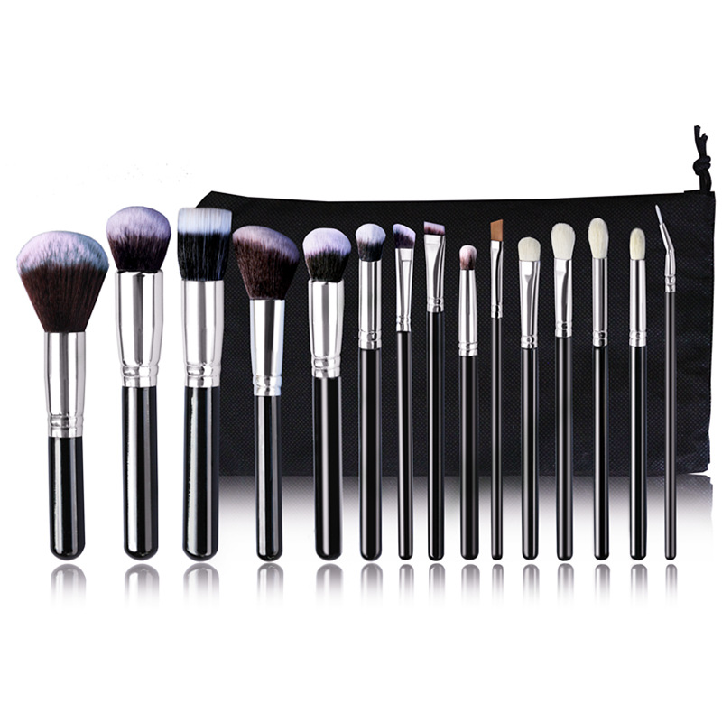 Pro 15 шт. набор кистей для макияжа Пудра основа для век консилер тушь для ресниц, кисть для губ инструмент черный/серебристый с сумкой