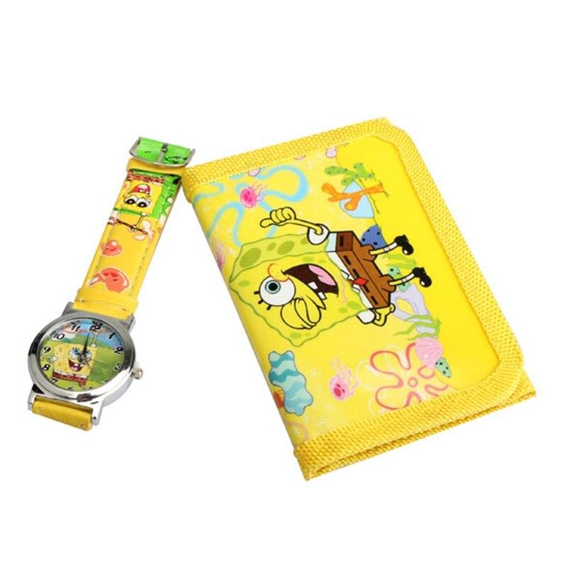 Heißer verkauf Neue cartoon Uhren Schöne Spongebob Schwammkopf Gelb montre cartoon Quarzuhr Mit Geldbörse Für Kinder AV02
