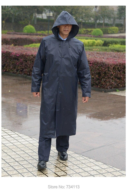 단일 레이어 긴 스타일 진한 파란색 비옷 야외 작업 비가 판쵸 여행 낚시 비옷 캠핑 스쿨 레인 코트