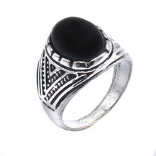 Size:9-11 Fashion Men Ring Black Stone Ring Silver Plated Oval Rings Free Shipping(China)