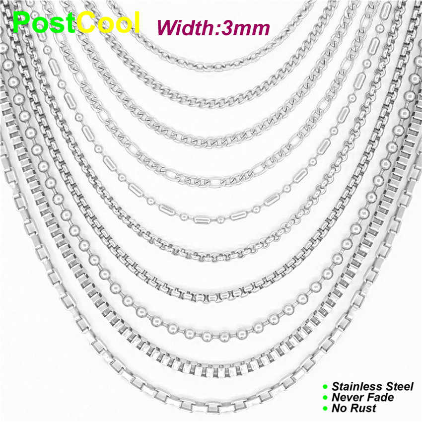 "10 Styles Width 3mm Length 16""18""20""24""28""32""36"" Metal Stainless steel Chain Necklace/Sweater Necklace DIY Fashion Jewelry AE"