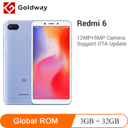 Оригинальный Xiaomi Redmi 6 3 ГБ ОЗУ 32 Гб ПЗУ мобильный телефон Helio P22 Восьмиядерный 5,45