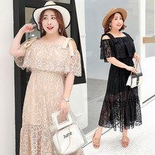 Lace loose large size dress 2018 summer new XXXXL fat MM  women's dress 2019 woolen winter large size dress sweet pure color large size fat mm dress