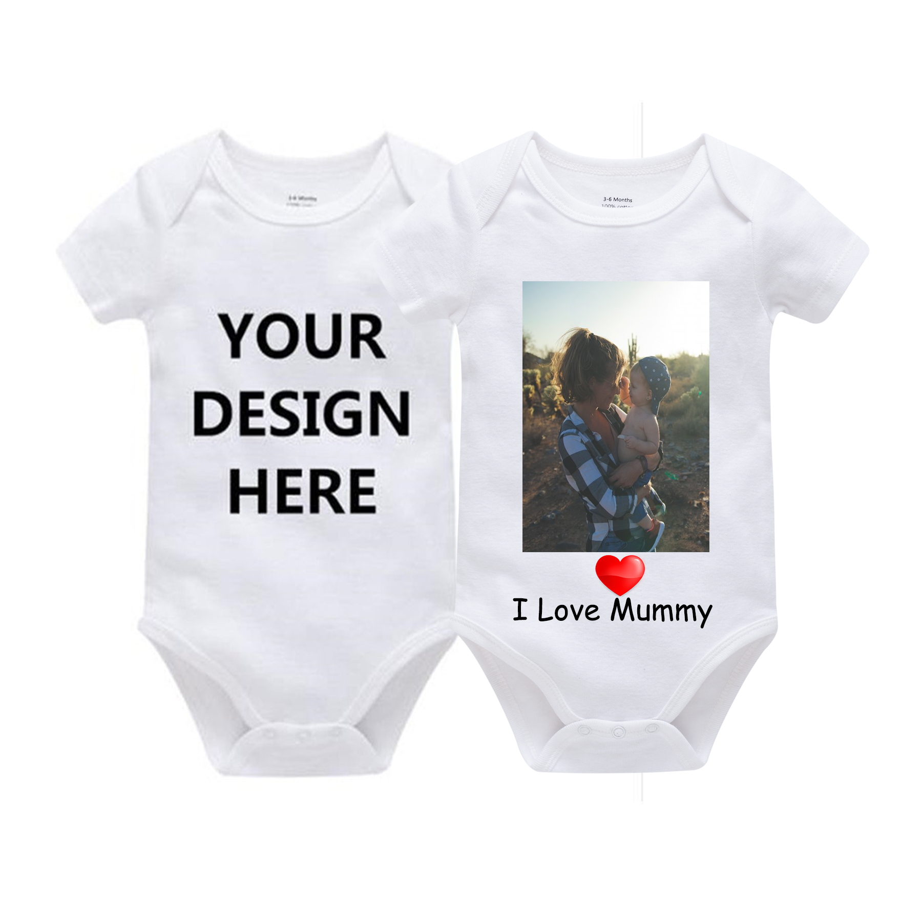 Custom Printed One Piece Outfits Cotton Newborn Boy Girl 0-24 Months White Body Bebes Blanco Roupa Menina Solid New Baby Jumper