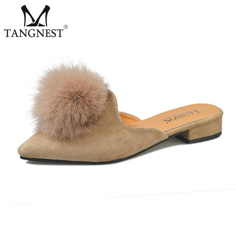 Tangnest Faux Fur Pom Pom Slippers Women Sexy Pointed Toe   Suede     Leather   Mules Comfortable Slingbacks Shoes Size 35~41 XWT1410