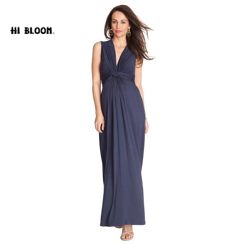 HI BlOOM Mothers Day Summer Maternity V-Neck Tencell Dress For Pregnent Official Women Evening Clothes Gowns Noble Vestido