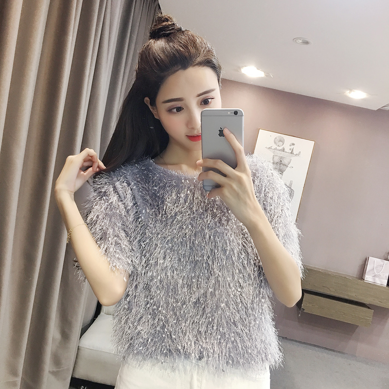 2018 New Spring Cute Women Shirts Short Sleeve Loose Patchwork Japanese Tassel Hedge Blouse Shirt Gray White Pink Black 8022