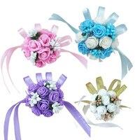 Wholesale 10 pcs/lot Wrist Corsage Bridesmaid Sisters hand flowers Artificial Bride Flowers For Wedding Party Decoration FX527