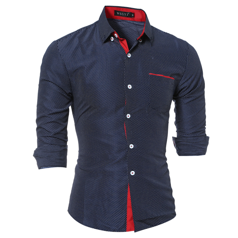2018 New listing mens dress shirt fashion hit color dot trend casual shirt mens brand business Slim long-sleeved shirt M-4XL