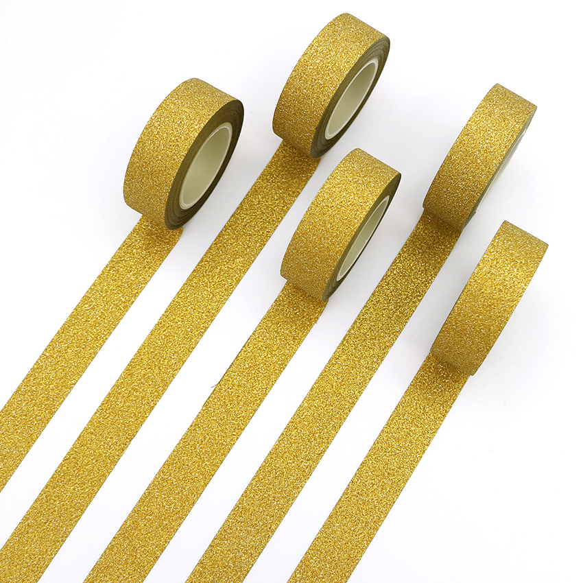 1 PCS Creative Golden Washi Tape Glitter Flash Stickers DIY Album Decoration Adhesive Hand Account Paper Tape Masking Tape