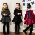 2016 de Inverno Meninas Vestir Meninas Engrosse Velvet Quente Uma Carta Crianças Vestido Bonito Vestido de Arco