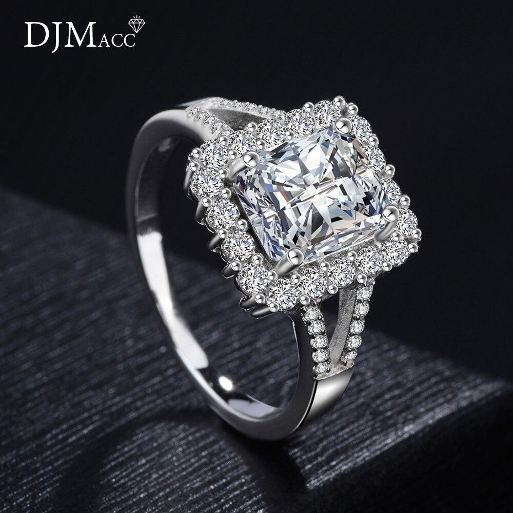 DJMACC Luxury S925 Sterling Silver Ring Shine 8MM*10MM Squar Zirconia Wedding Engagement Rings For Women Fashion Jewelry(DJ1108)