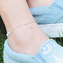 Sterling Silver Anklets personality female South Korea Zuyin bell anklet silver jewelry simple tassel Korean lettering