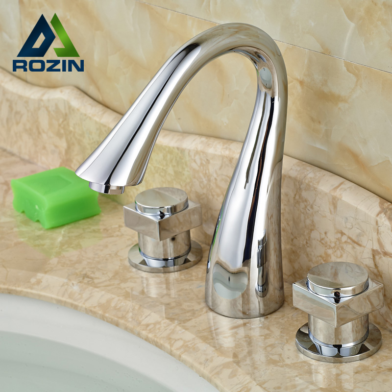 ФОТО Wholesale and Retail Brass Chrome Bathroom Basin Faucet Two Handle Widespread 3 Hole with Hot and Cold Water