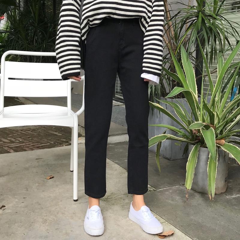 Spring Autumn Women Female Fashion Brand Korea Style Vintage High Waist Straight Slim Fit Denim Skinny Ankle-length Pants Jeans
