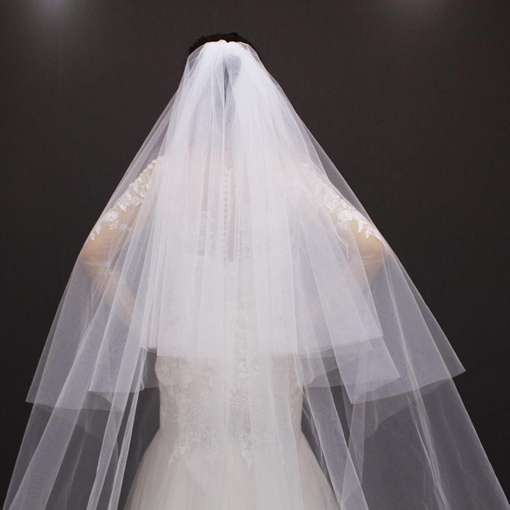 Image 5 - velos de novia 3 Meters 2T White&Ivory Sequins Blings Sparkling Lace Edge Purfle Long Cathedral Wedding Veils-in Bridal Veils from Weddings & Events
