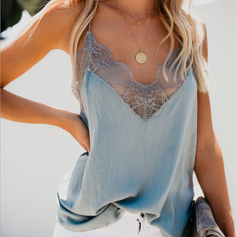 Casual Tops Vests Tank Lace Cotton-Blend Female Sexy Hollow-Out V-Neck Women Summer 1pc