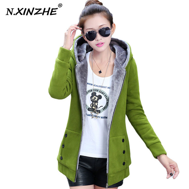 N.XINZHE Jacket Women Casual Hoodies Coat Cotton Sportswear Hooded Warm basic Jackets Coats 2017 Spring Autumn Plus Size M-3XL