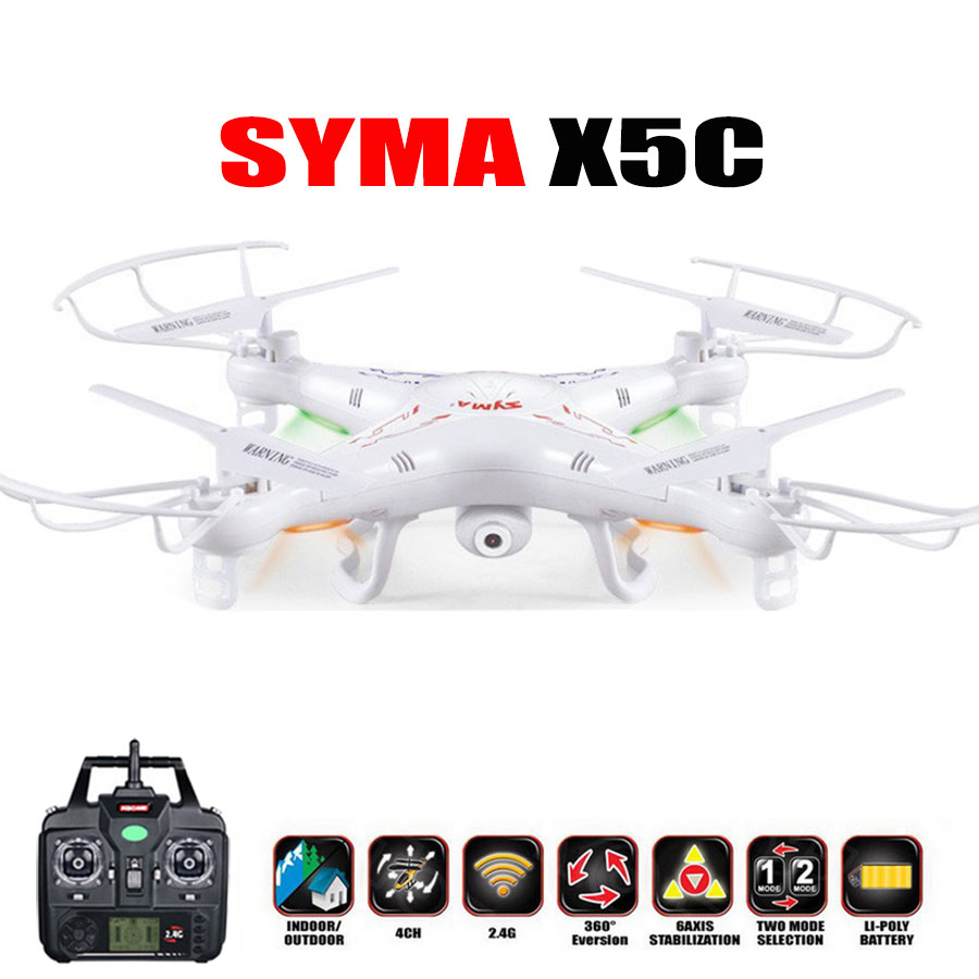 Syma X5C (Upgraded version) Drone 2.4G 4CH 6 Axis Quadcopter Toys Drone With 2MP HD Camera RC Helicopter For Gift syma x5c drone 4ch 6 axis remote control quadcopter with 2mp hd camera rc helicopter dron toys for children