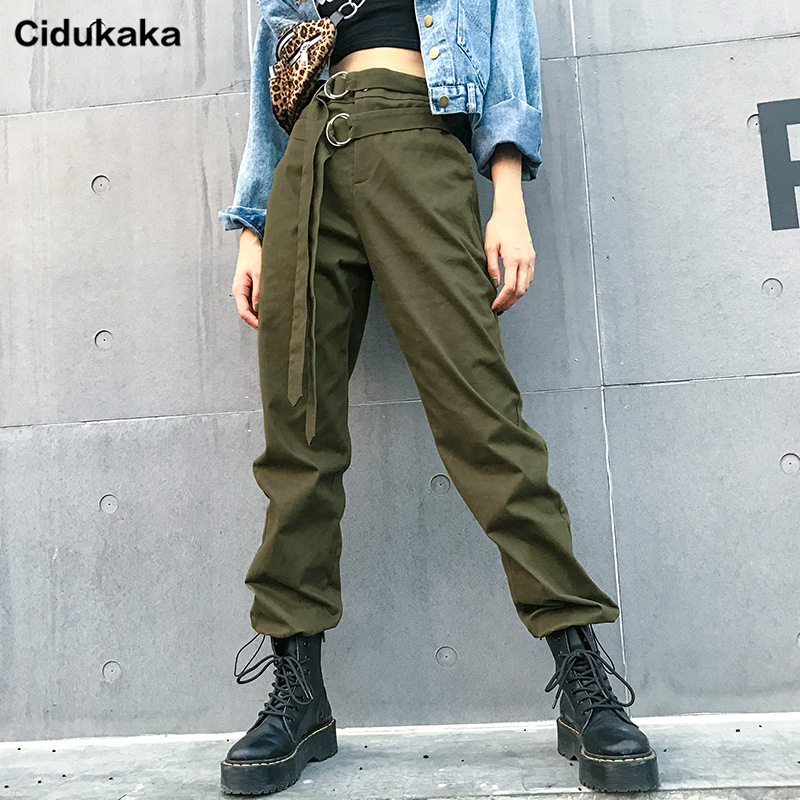 Cidukaka Army Green Cargo   Pants   2019 Women Streetwear High Waist Trousers Woman Harajuku Harem   Pants     Capri   Pockets Korean Punk