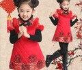 Año nuevo vestido de las niñas vestido de Invierno, Además de Terciopelo Grueso chino ropa del partido del vestido 10 niña de la edad de vestido cheongsam chino floral