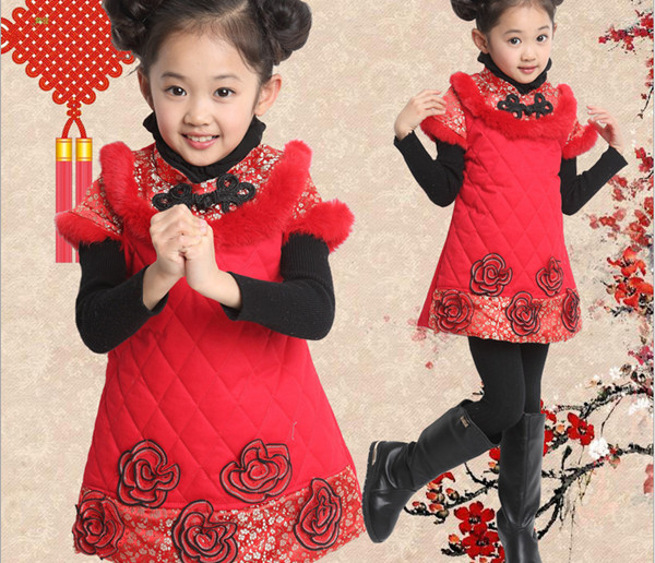 ФОТО New year dress for girls  Winter dress Plus Thick Velvet chinese clothes party dress 10 age girl chinese cheongsam dress floral