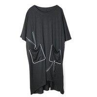 Z ZOUX Women Dress Irregular Patchwork Tshirt Dress Black Cotton Asymmetry Casual Long Maxi Dress Plus Size 2019 New Fashion